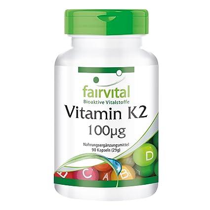 Vitamina K2 100 mg - Bote para 3 meses - VEGANO - 90 cápsulas - menaquinona