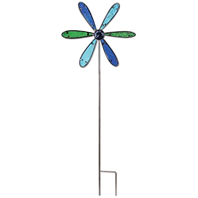 Sunset Vista Designs 92633 Pinwheel Garden Stake, Metal and Blue Glass : Garden & Outdoor