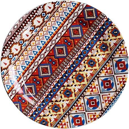 Silai - Plato de cerámica Europeo para el hogar, Hotel, Cubiertos, Platos de Cocina Europea, vajilla Occidental, Platos de Pizza Italiana, Porcelana, Rojo, 21.5CM*2.5CM: Amazon.es: Hogar