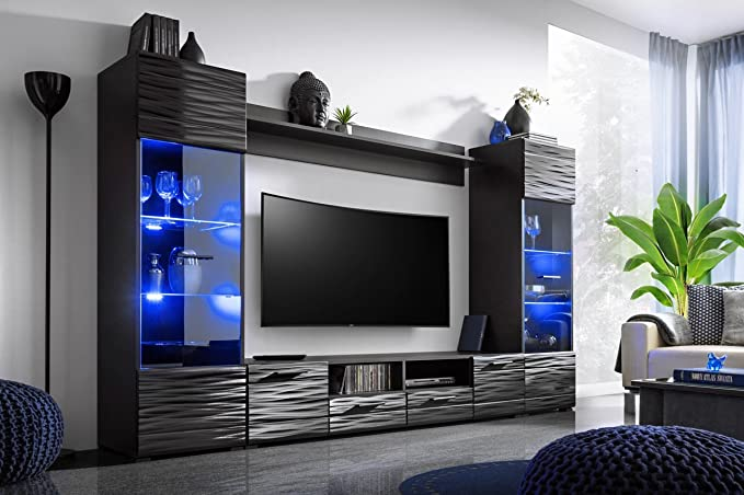 Meble Furniture Rugs Modica Modern Entertainment Center Wall Unit With Led Lights 65 Tv Stand Furniture Decor Amazon Com