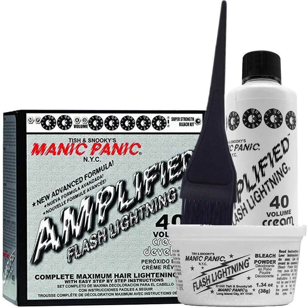 Manic Panic Flash Lightning Hair Bleach Kit - 40 Volume Cream Developer - Hair Lightener Kit for Light, Medium Or Dark Brown & Black Hair Color - Hair Bleach Powder Lifts up to 7 Levels of Lightening: Beauty