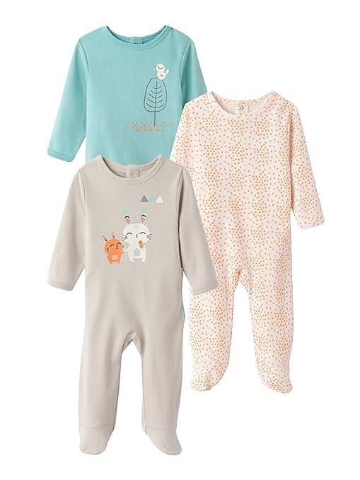 VERTBAUDET Lote de 3 pijamas estampados espalda con automáticos 100% algodón bebé Gris pálido 1M