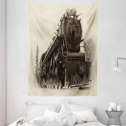 Ambesonne Steam Engine Tapestry, Antique Northern Express Train Canada Railways Photo Freight Machine Print, Wall Hanging for Bedroom Living Room Dorm, 60 X 80 , Black Grey