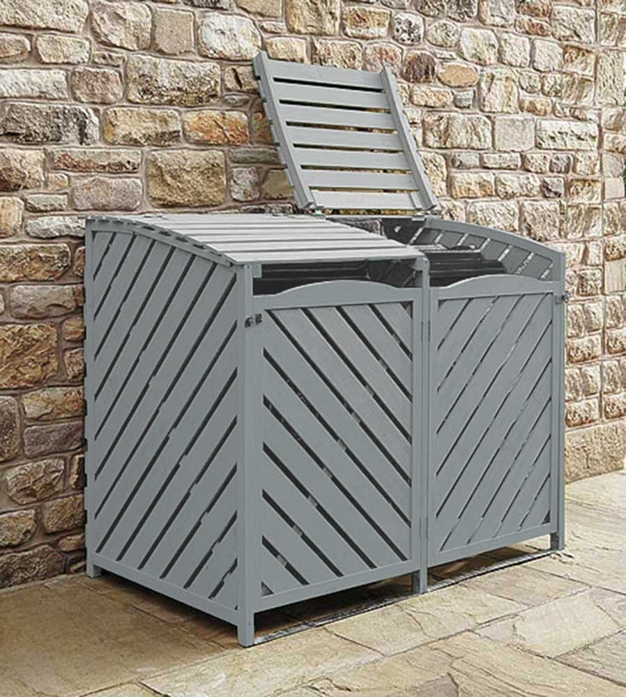 5060495613050 Wooden Wheelie Bin Storage Grey Garden Storage Lockable Rubbish Cover