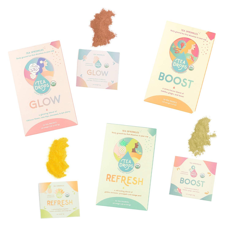 Tea Sprinkles Gift Set | Organic Tea Powders | 12 Refresh Tea Sprinkles (Decaffeinated), 12 Boost Tea Sprinkles (Caffeinated), 12 Glow Tea Sprinkles (Decaffeinated) | Delicious as Hot or Iced Tea