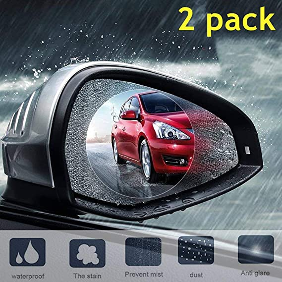 2pcs Car Rearview Mirror Waterproof Anti-glare Anti-fog Film For Universal Cars