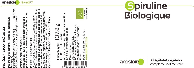 ESPIRULINA ECOLÓGICA * 500 mg / 180 cápsulas * Antioxidantes, Cardiovascular (glucosa), Deficiencias (hemoglobina), Energia (fatiga), Equilibrio ...