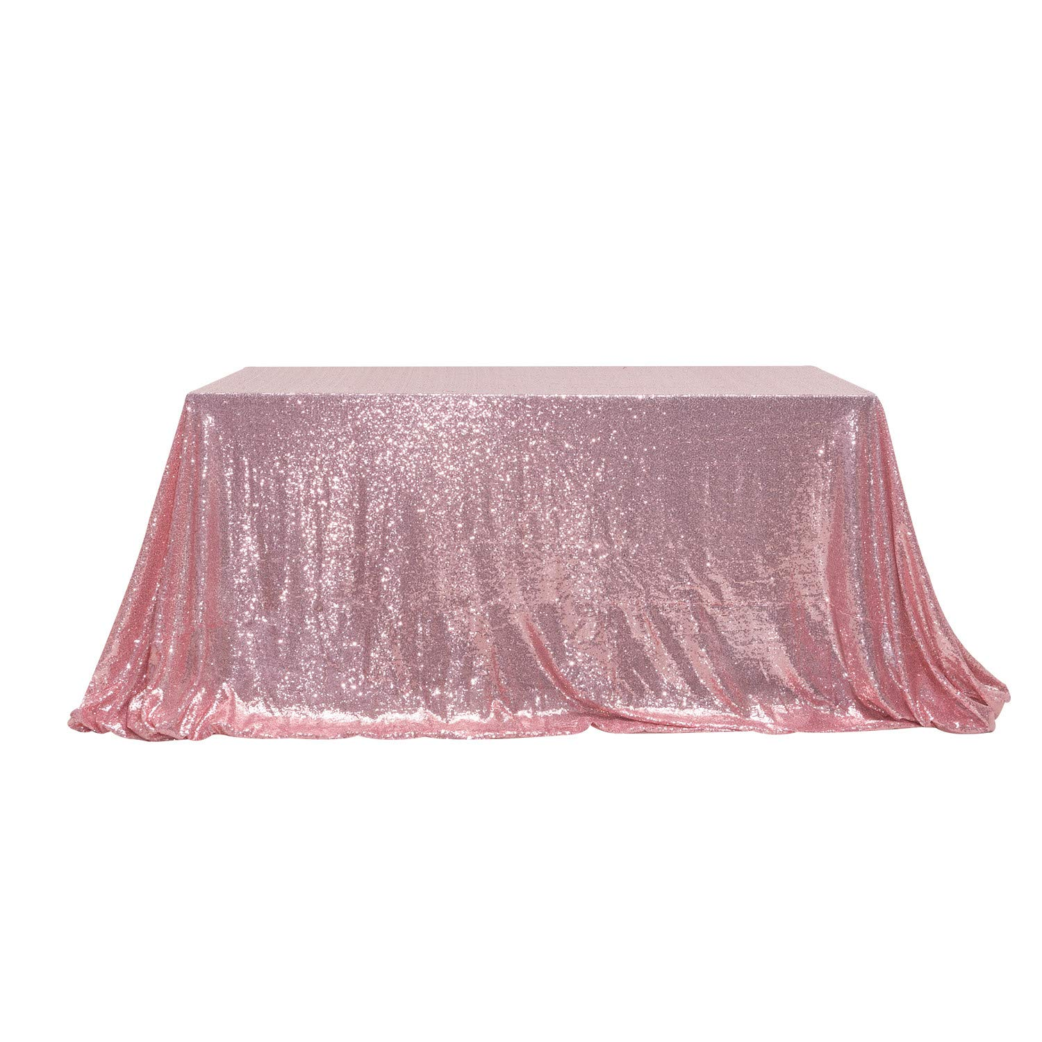 PartyDelight 60'' x 120'' Fuchsia Pink Sequin Tablecloth for Wedding, Baby Shower, Birthday, Banquet, Christmas, and Banquet.