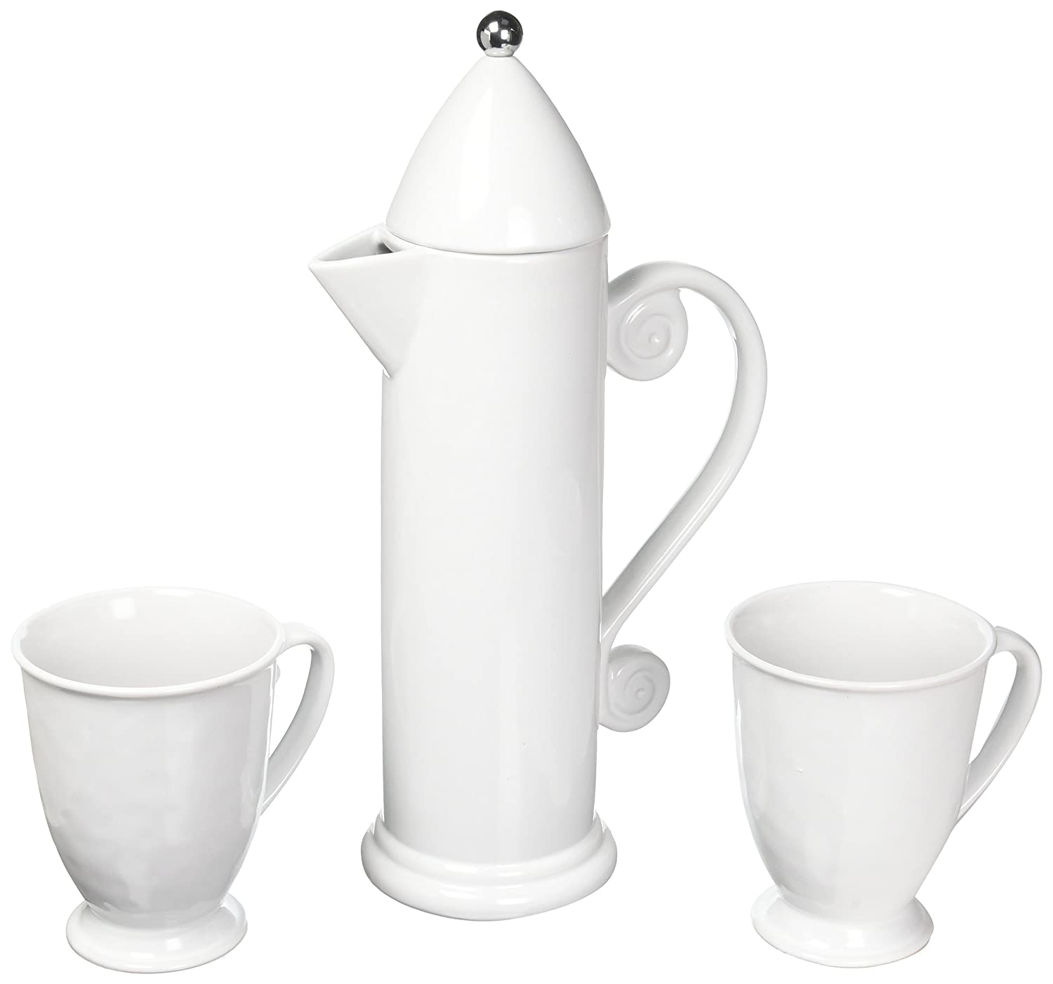 Francois et Mimi Ceramic French Press for Coffee and Tea, 27oz, Comes with 2 Large-Sized Ceramic Cups, Mugs (Blue) FP202F3Y
