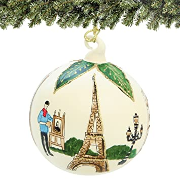 Amazon.com: Glass Ball Paris Christmas Ornament Hand Painted (in ...