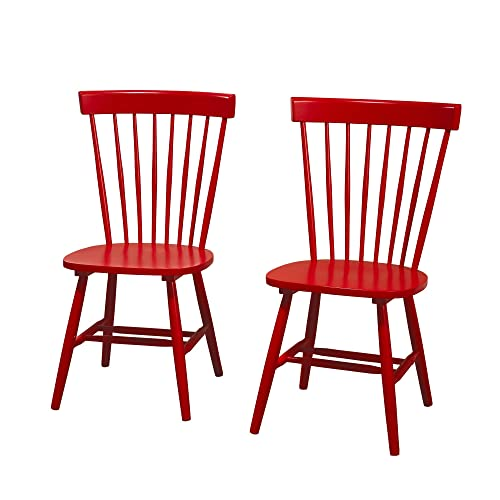Target Marketing Systems Venice Set Of 2 Dining Chairs, Red