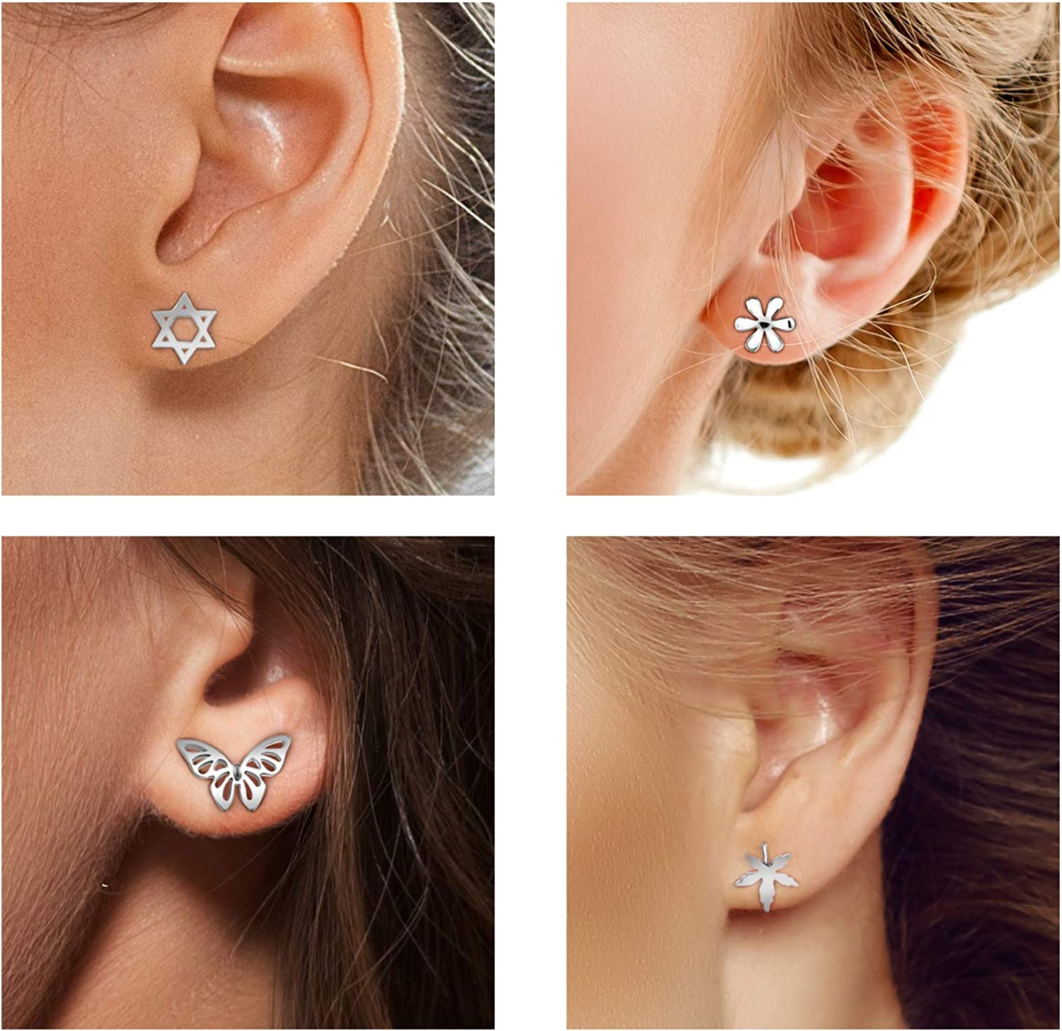 Everyday Jewelry Gift for her Earrings Set of 5 pairs Teeny Tiny Stud Simple Jewellery. Free Shipping Save 47/%