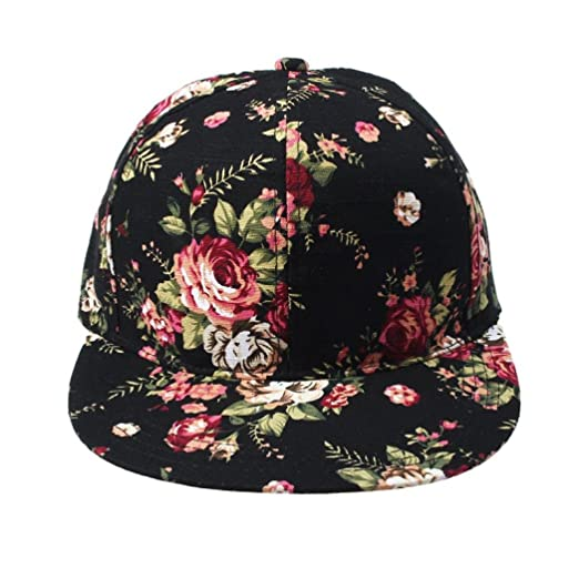 962fb0dd Oksell® Women Floral Adjustable Flat Unisex Snapback Hip Hop Hat Baseball  Cap (Black)
