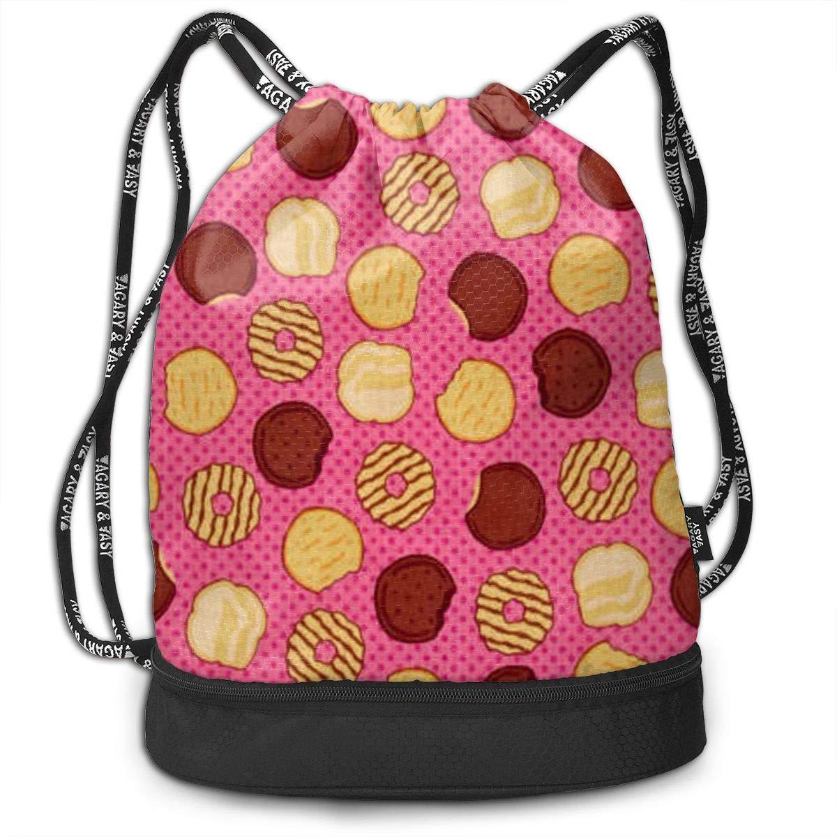 HUOPR5Q Delicious Cookies Drawstring Backpack Sport Gym Sack Shoulder Bulk Bag Dance Bag for School Travel