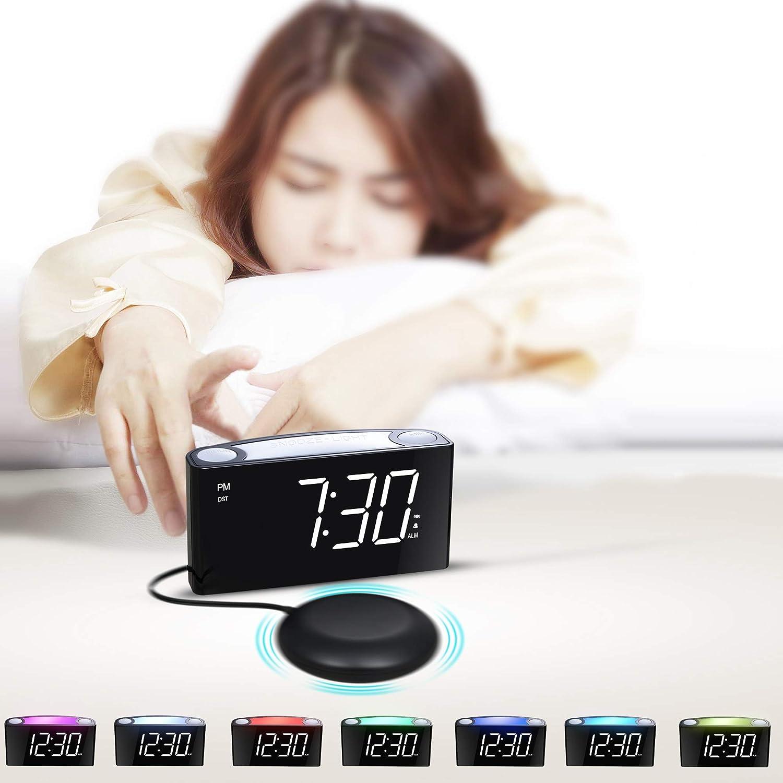 Horloge de Bureau Enfants Mesqool R/éveil num/érique LED 7 Pouces 7 veilleuses de Couleur 3 Niveaux dalarme 2 Ports USB Seniors variateur de luminosit/é Plein /écran