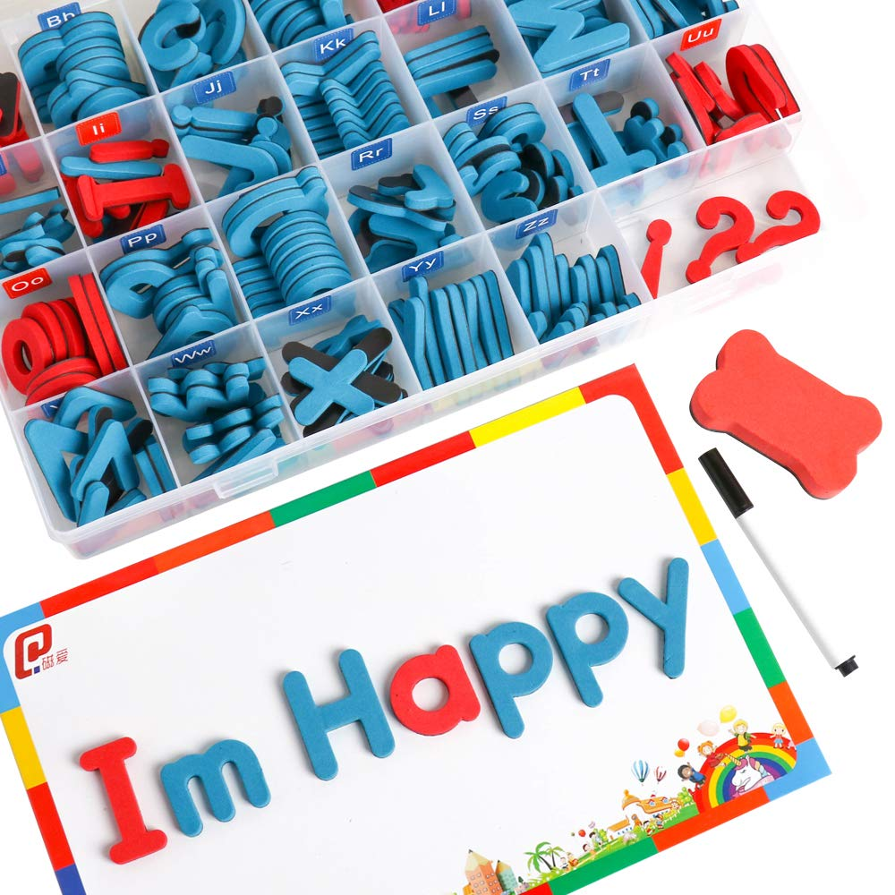 USHF Classroom Magnets Magnetic Letters for Kids with Magnetic Board - Uppercase Lowercase Foam Alphabet Magnets for Fridge Refrigerator Educational Toy Set Learning Spelling Reading 208 PCS Set