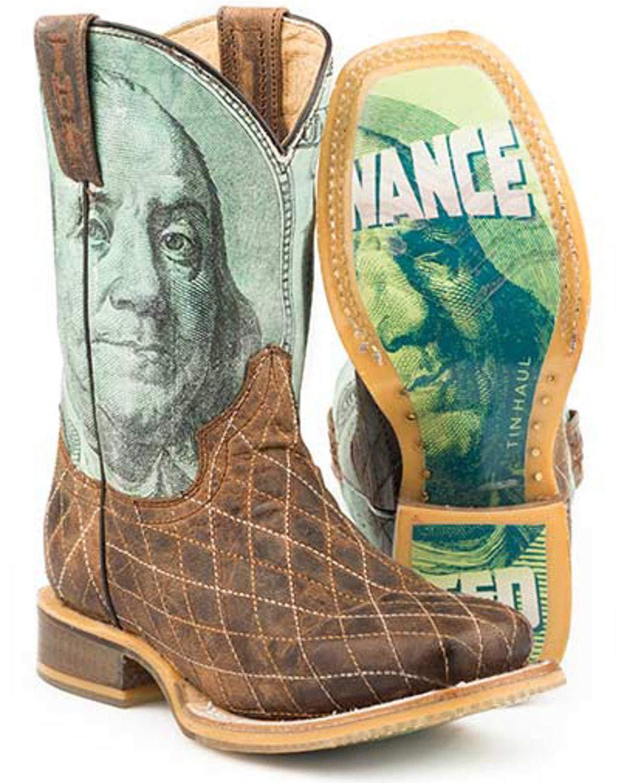 Tin Haul Boys' Money Western Boot Square Toe Tan 1 D