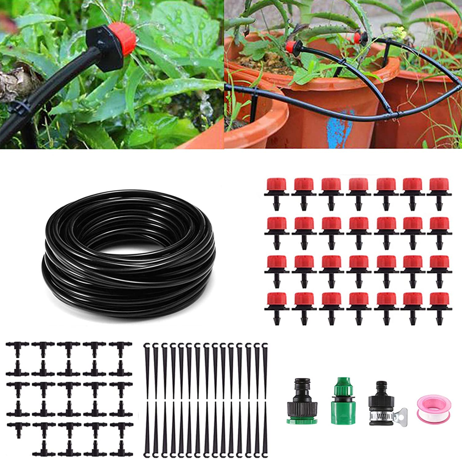 "MSDADA 82ft Watering System for Plants, 1/4"" Blank Distribution Tubing Garden Watering System/DIY Self Plant Garden Hose Watering Kit (red) for Garden Greenhouse, Flower Bed, Patio, Lawn"