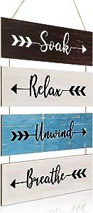 Jetec Rustic Wooden Soak Relax Unwind Breathe Sign, Funny Farmhouse Bathroom Arrow Sign Wall Decor, Large Rustic Bathroom Hanging Wall Sign for Home Laundry Room Bathroom