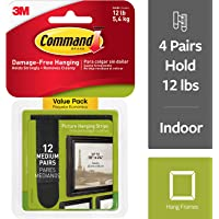 Command Picture Hanging Tiras, tamaño mediano, 12 pares, Negro