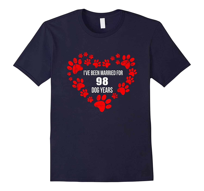 14th Wedding Anniversary T-Shirt 98 Dog Years Gift-TH