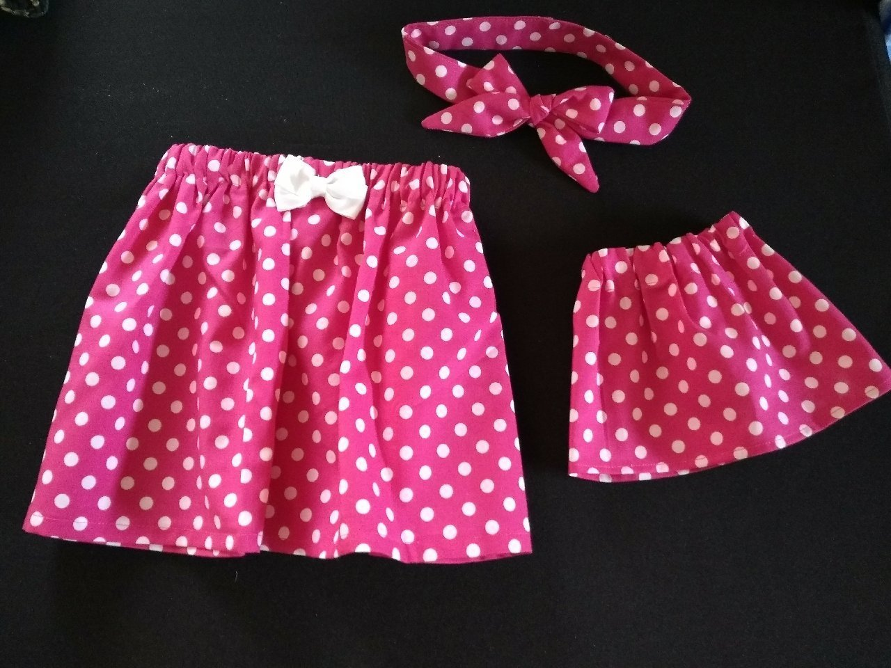 Hot Pink Polka Dot Girls Skirt with Matching Headband & Baby Doll Skirt
