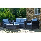 Sue Ryder 4 Piece Rattan Set Table Sofa & 2 Chairs Garden Outdoor Furniture Grey