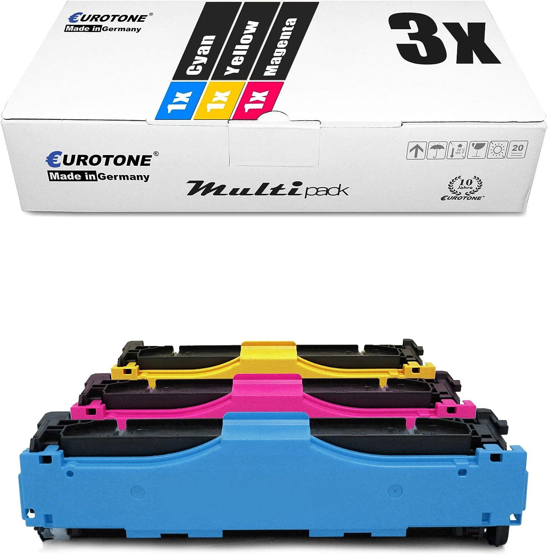 3x Eurotone Kompatibler Toner Für Hp Color Laserjet Cp2025 Cm2320ei Cm2320cbb Cp2026n Cm2320ebb Cm2323 Wie Cc531a 33a Cc531a Cc533a 304a Color Bürobedarf Schreibwaren