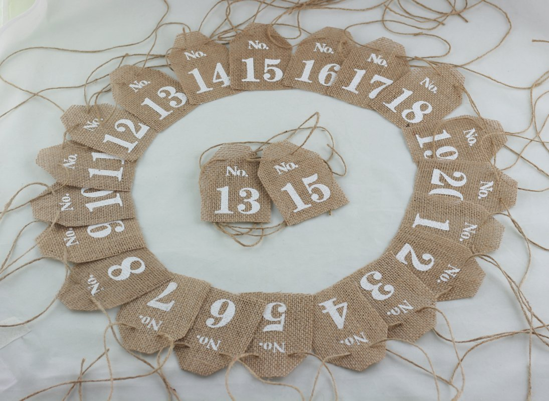 Cheonus Burlap Table Number Cards No.1-No.20 Rustic Wedding Reception Jute Hessian Cards Wedding Part Bridal Shower Hotel Decor