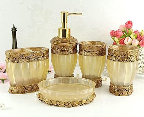 Amazon Com Amss 5 Piece Stunning Bathroom Accessories Set In Crystal Like Resin Tumbler Dispenser Soap Dish Cups Yellow Home Kitchen