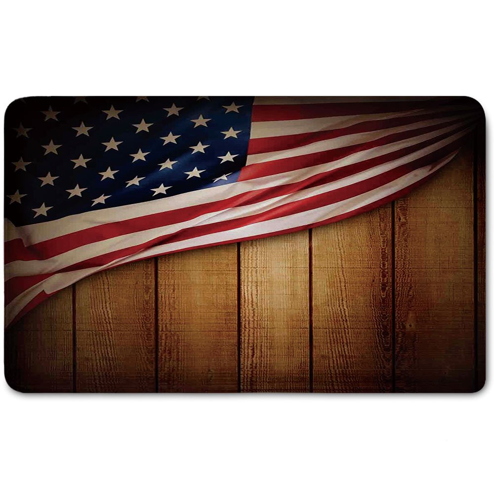 Memory Foam Bath Mat,American Flag Decor,Usa Design on Vertical Lined Retro Wooden Rustic Back Glory Country ImagePlush Wanderlust Bathroom Decor Mat Rug Carpet with Anti-Slip Backing,Blue Red