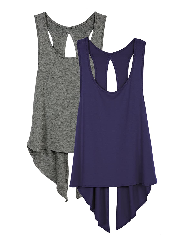 icyzone Women's Open Back Workout Tank Tops - Yoga Tank Sport T-Shirt Gym Fitness Running Sleeveless Vest