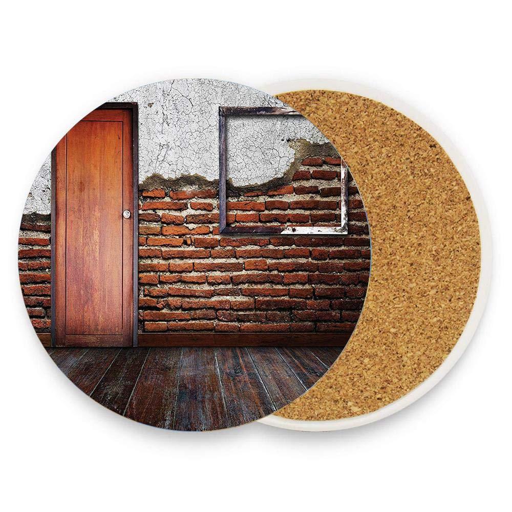 陶器製コーステグラスカップホルダー コーヒーマグプレースマット ドリンク用 1パック  Antique Picture Frame Put On A Damaged Brick Wall in Aged Old Room Rustic Wooden Floor B07RVMTDH2