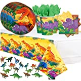 Dinosaur Prehistoric Themed Party Pack for 16 with Plates, Napkins, Cups, Tablecover, and Dinosaur Figurines!