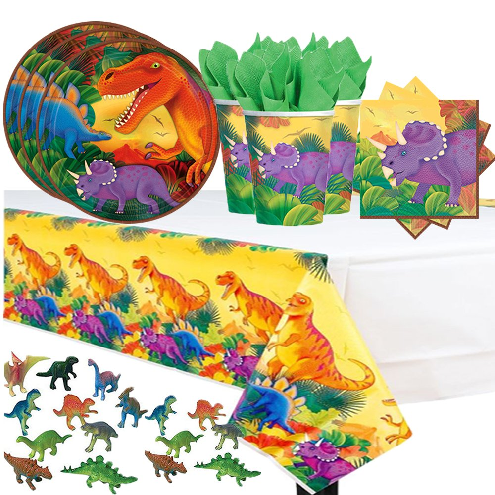 delicate dinosaur prehistoric themed party pack for 16 with plates napkins cups tablecover. Black Bedroom Furniture Sets. Home Design Ideas