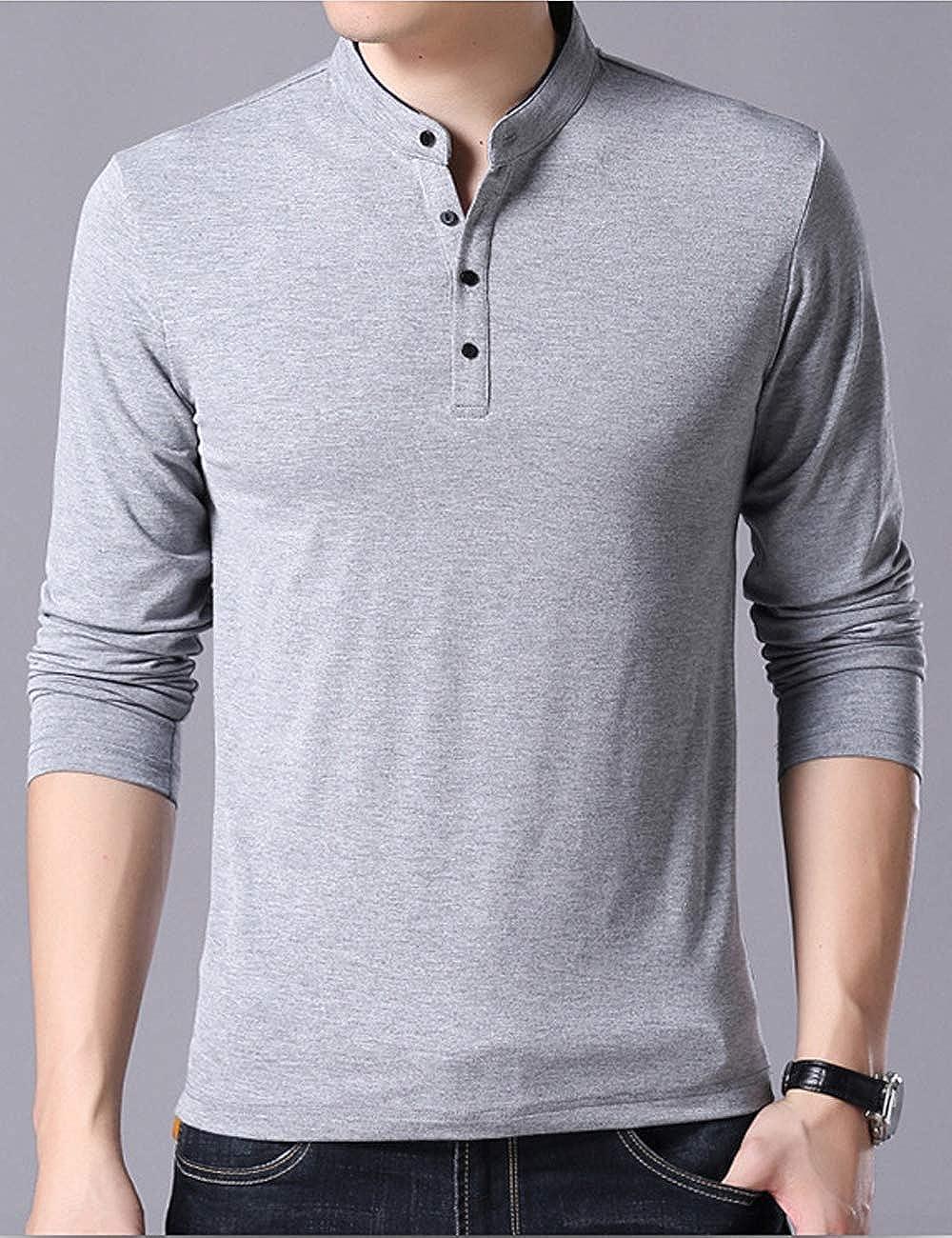 Hixiaohe Mens Casual Slim Fit Long Sleeve Cotton Henley T-Shirts Polo Fashion T-Shirts
