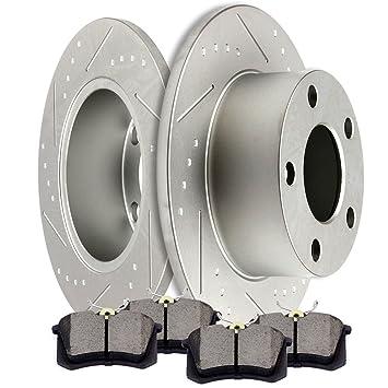 Passat Front Rear  Drill Slot Brake Rotors+Ceramic Pads For Audi Volkswagen A6