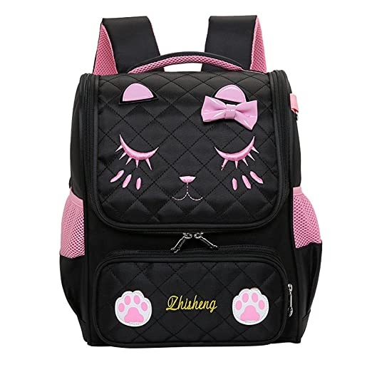 f99148f80f Image Unavailable. Image not available for. Color  Fanci Cute Cat Face  Bowknot Elementary School Backpack Bookbag for Girls ...