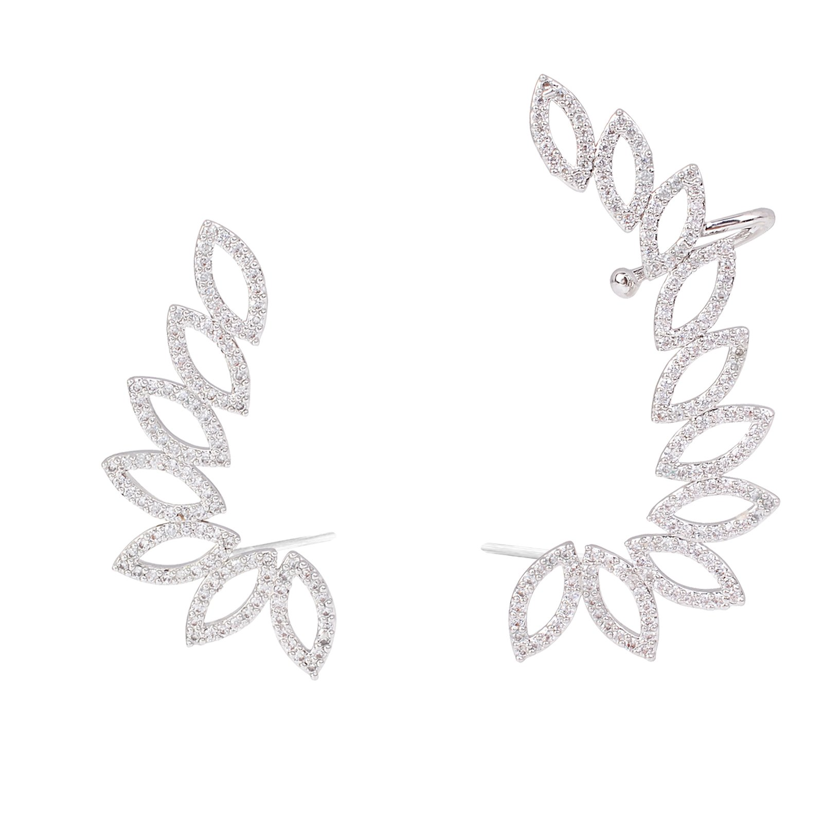 OBONNIE Women's 925 Sterling Silver CZ Crystal Leaf Flower Petals Right Ear Cuffs Clip Earrings Stud Set