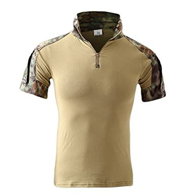 8bff140a63bf Image Unavailable. Image not available for. Color: Carolyn Jones Men Casual  Camouflage Men Cotton Army Tactical Military Combat Camo Acu Mens Tops Polo