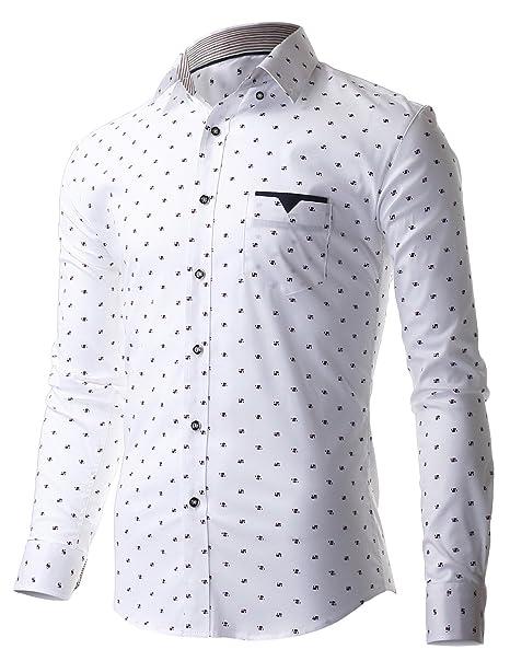 FLATSEVEN fina para hombre de Casual patrones de costura para camisas de manga larga con diseño estampado: Amazon.es: Ropa y accesorios