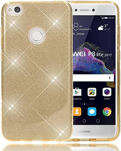NALIA Coque Silicone Compatible avec Huawei P8 Lite 2017, Ultra-Fine Glitter Housse Protection Slim Case Paillettes Cover Souple Résistant Incassable ...