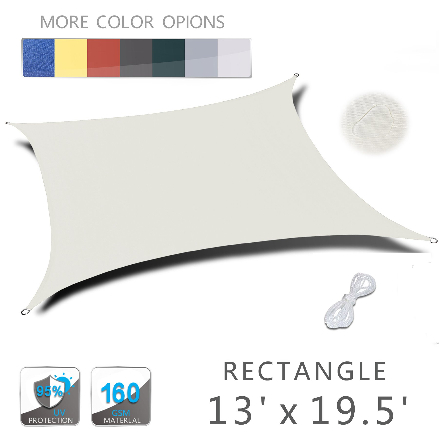 Love Story 13' x 19.5' Rectangle Beige Waterproof Sun Shade Sail Perfect for Outdoor Patio Garden