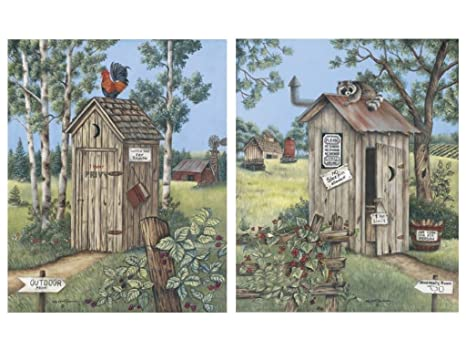 2 Vintage Outhouse Pictures Bathroom Privy Poster Print New Free Ship