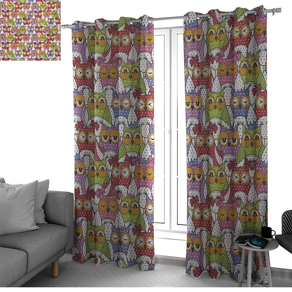 bybyhome Owl Thermal Insulated Blackout Curtains Ornate Owl Crowd with Different Sights and Polka Dots Like Matryoshka Dolls Fun Retro Theme Drapes Panels Multi W108 x L96 Inch