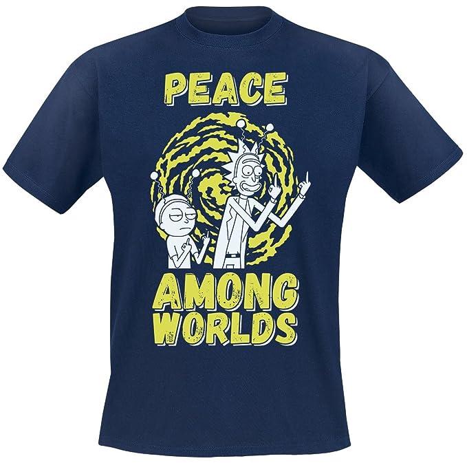 Rick and Morty Peace Among Worlds Camiseta Azul Marino MIZJBR8