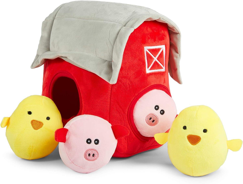 Okuna Outpost Hide and Seek Farm Animal Plush Small Dog Toys with Felt Barn 5 Pieces