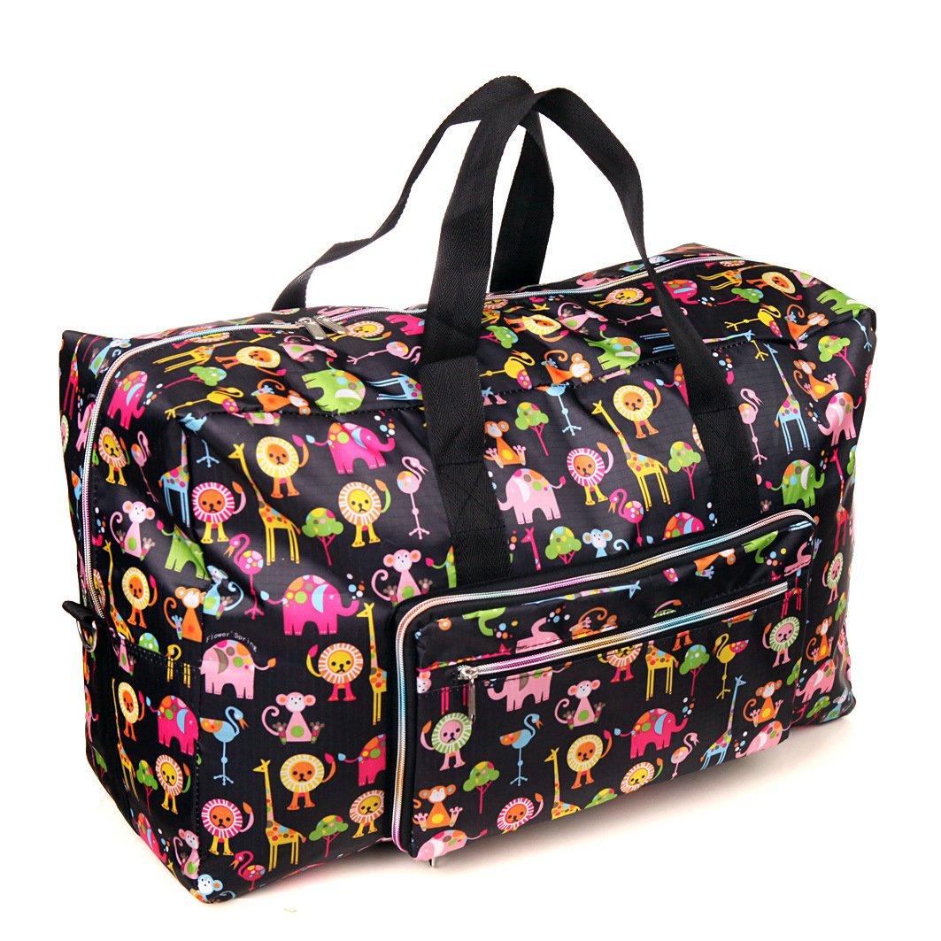 Fengxun Travel Bag Foldable Large Travel Duffel Bag Waterproof Tote Weekender Nylon Overnight Handbag (Animal)