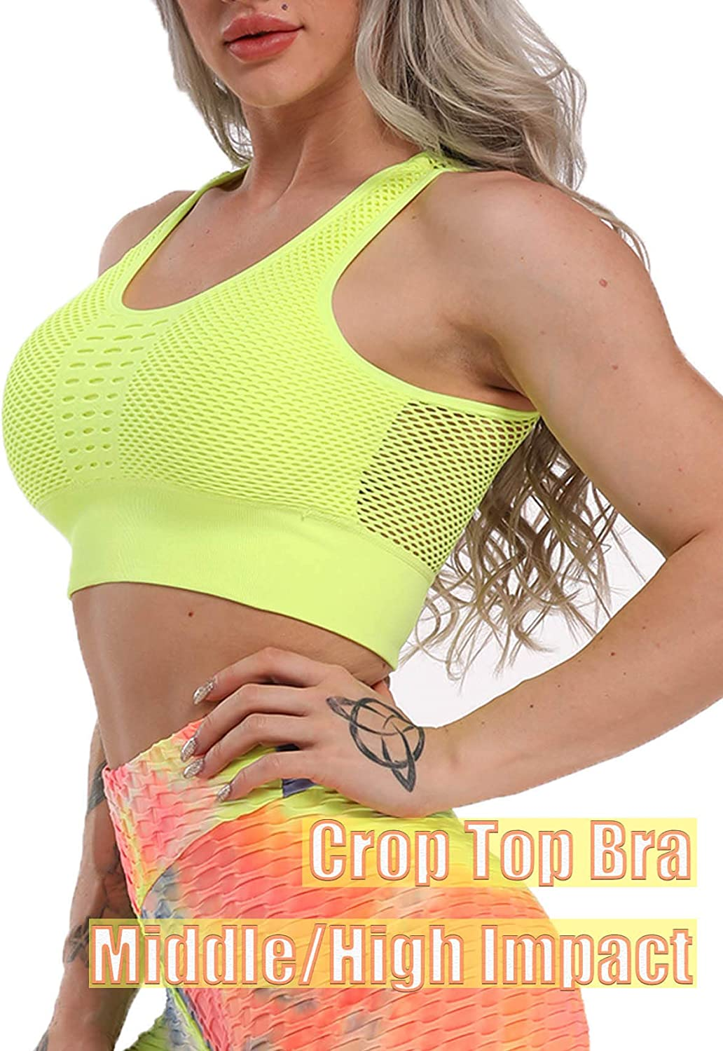 Women Seamless Comfort Sports Bra Openwork Back Sleeveless High//Middle Impact Tank Tops with Padding