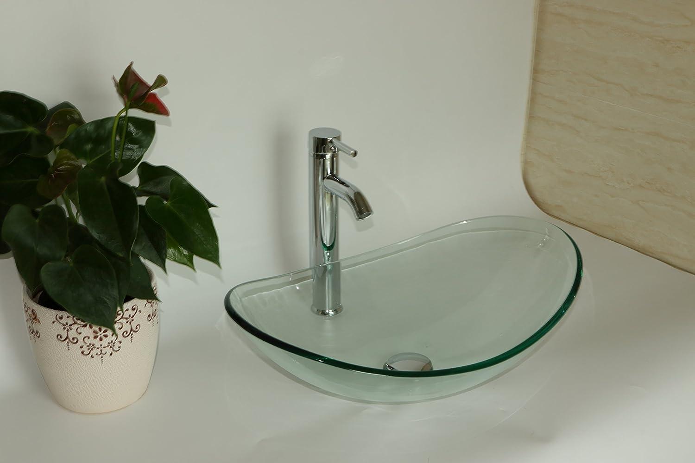 Sliverylake Bathroom Boat Shape Clear Glass Vessel Sink Bowl ...